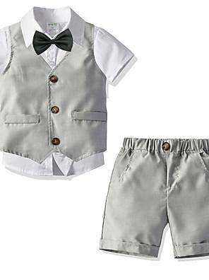 cheap Boys' Clothing Sets-Kids Boys' Basic Birthday Party Party & Evening Print Short Sleeve Regular Regular Clothing Set White