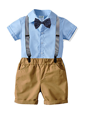 cheap Boys' Clothing Sets-Kids Toddler Boys' Basic Birthday Party Party & Evening Geometric Print Short Sleeve Regular Regular Clothing Set White