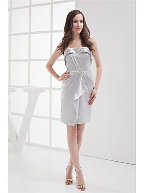 cheap Quartz Watches-Sheath / Column Elegant Cocktail Party Dress Strapless Sleeveless Knee Length Stretch Satin with Beading 2020