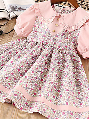 cheap Girls' Dresses-Kids Girls' Geometric Dress Blushing Pink