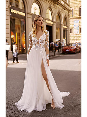 cheap Cocktail Dresses-A-Line Wedding Dresses V Neck Court Train Lace Long Sleeve Country Formal Casual Illusion Sleeve with 2020