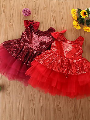 cheap Baby Girls'  Dresses-Baby Girls' Basic Solid Colored Sleeveless Above Knee Dress Wine