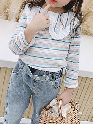 cheap Girls' Dresses-Kids Girls' Basic Striped Long Sleeve Sweater & Cardigan Blue