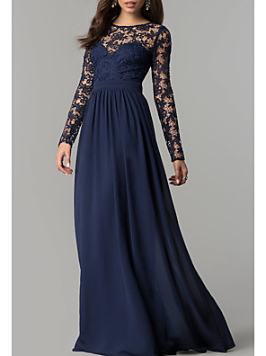 cheap Bridesmaid Dresses-Sheath / Column Mother of the Bride Dress Elegant Jewel Neck Floor Length Chiffon Lace Long Sleeve with Appliques Ruching 2020