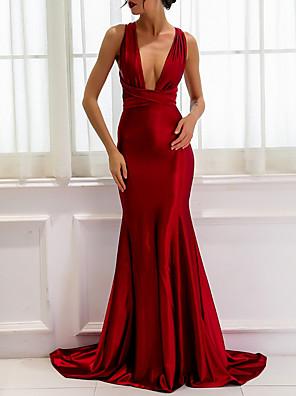 cheap Evening Dresses-Sheath / Column Wedding Dresses V Neck Sweep / Brush Train Satin Regular Straps Romantic Plus Size Red with Sashes / Ribbons 2020