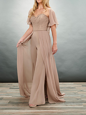 cheap Evening Dresses-Pantsuit / Jumpsuit Mother of the Bride Dress Elegant V Neck Floor Length Chiffon 3/4 Length Sleeve with Ruching 2020