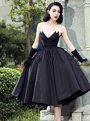 cheap Cocktail Dresses-A-Line Wedding Dresses Strapless V Neck Tea Length Tulle Polyester Strapless Sexy Black with 2020