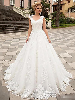 cheap Wedding Slips-A-Line Wedding Dresses V Neck Sweep / Brush Train Lace Tulle Strapless Country with 2020