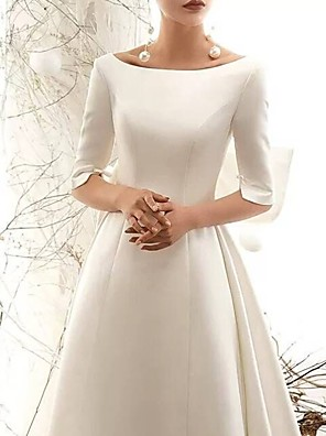 cheap Wedding Dresses-A-Line Wedding Dresses Bateau Neck Court Train Polyester Half Sleeve Vintage Sexy with Bow(s) 2020