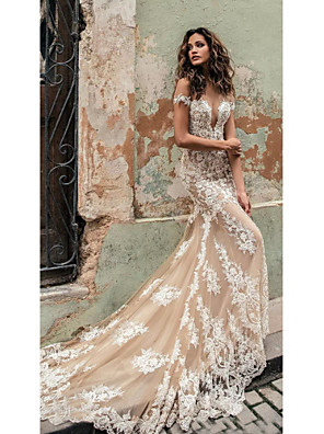 cheap Wedding Dresses-Mermaid / Trumpet Wedding Dresses Off Shoulder Court Train Lace Regular Straps Country Formal Casual with 2020