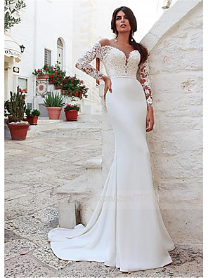 cheap Wedding Dresses-Mermaid / Trumpet Wedding Dresses Jewel Neck Sweep / Brush Train Lace Long Sleeve Country Illusion Sleeve with 2020 / Bell Sleeve