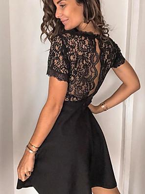 cheap Cocktail Dresses-Women's A Line Dress - Short Sleeves Solid Color Black S M L XL / Little Black