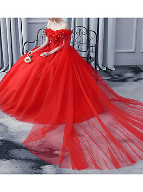 cheap Evening Dresses-A-Line Wedding Dresses Off Shoulder Court Train Lace Tulle Sleeveless Casual Plus Size Red with Lace Insert 2020