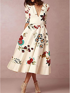 cheap Mother of the Bride Dresses-A-Line Mother of the Bride Dress Elegant Plunging Neck Tea Length Polyester Half Sleeve with Ruching 2020