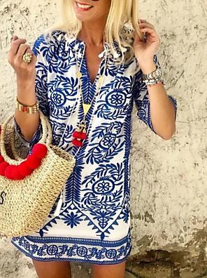 cheap Cocktail Dresses-Women's Loose Dress - 3/4 Length Sleeve Geometic V Neck Loose Blue M L XL XXL