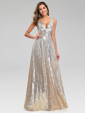 cheap Cocktail Dresses-A-Line Sexy Sparkle Wedding Guest Engagement Prom Dress V Neck Sleeveless Floor Length Polyester with Sequin 2020