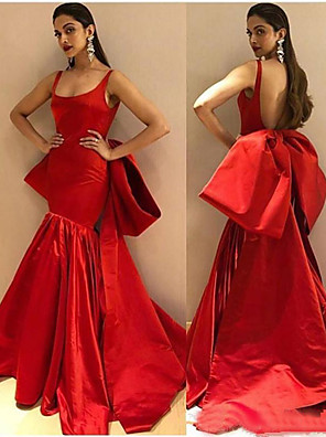 cheap Evening Dresses-Mermaid / Trumpet Sexy Red Engagement Formal Evening Dress Scoop Neck Sleeveless Court Train Stretch Satin with Bow(s) Ruched 2020