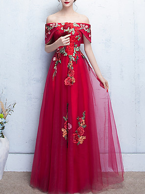 cheap Special Occasion Dresses-A-Line Elegant Prom Formal Evening Dress Off Shoulder Short Sleeve Floor Length Polyester with Embroidery Appliques 2020