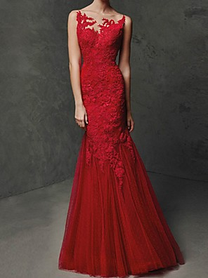 cheap Evening Dresses-Mermaid / Trumpet Beautiful Back Red Engagement Formal Evening Dress Illusion Neck Sleeveless Floor Length Polyester with Lace Insert Appliques 2020