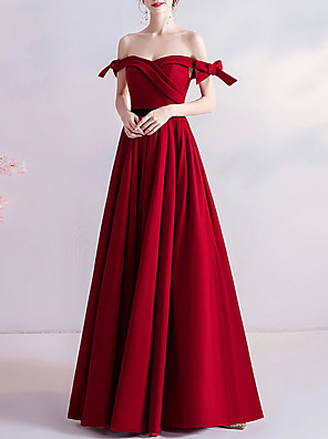 cheap Wedding Dresses-A-Line Wedding Dresses Off Shoulder Floor Length Satin Cap Sleeve Romantic Plus Size Red with Bow(s) Draping 2020