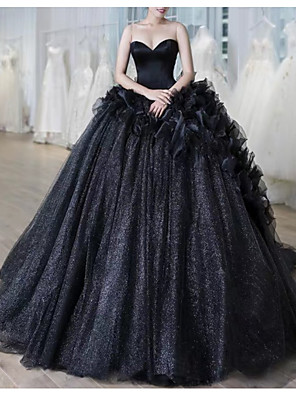 cheap Prom Dresses-Ball Gown Wedding Dresses Sweetheart Neckline Court Train Lace Strapless Formal Black Modern with Draping Lace Insert 2020