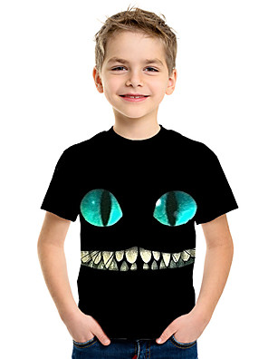 cheap Boys' Tops-Kids Boys' Active Street chic 3D Print Short Sleeve Tee Black