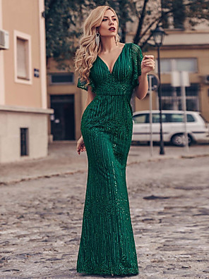cheap Evening Dresses-Mermaid / Trumpet Sparkle Green Engagement Formal Evening Dress V Neck Short Sleeve Floor Length Tulle with Sequin 2020