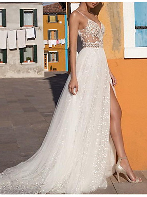 cheap Wedding Dresses-A-Line Wedding Dresses V Neck Floor Length Tulle Sleeveless Casual Boho Plus Size with Appliques Split Front 2020