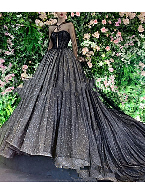 cheap Prom Dresses-Ball Gown Wedding Dresses V Neck Court Train Lace Tulle Long Sleeve Formal Black with Draping Lace Insert 2020
