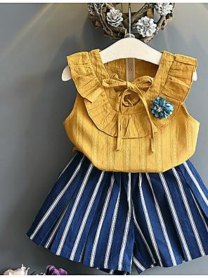 cheap Girls' Dresses-Kids Girls' Basic Print Sleeveless Clothing Set Yellow