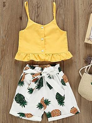 cheap Girls' Dresses-Baby Girls' Basic Fruit Sleeveless Regular Clothing Set Yellow / Toddler