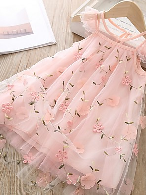 cheap Girls' Dresses-Kids Girls' Floral Dress Blushing Pink