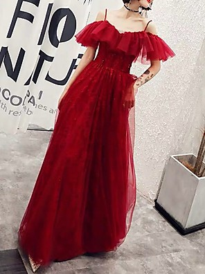 cheap Prom Dresses-A-Line Sparkle Red Engagement Formal Evening Dress Spaghetti Strap Short Sleeve Floor Length Polyester with Ruffles 2020