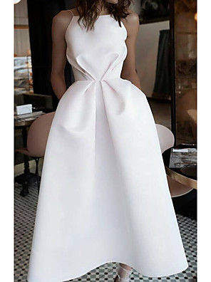 cheap Evening Dresses-Ball Gown Wedding Dresses Jewel Neck Ankle Length Satin Spaghetti Strap Formal Plus Size with Draping 2020