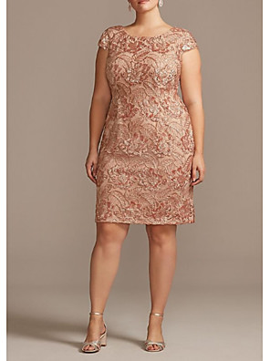 cheap Cocktail Dresses-Sheath / Column Mother of the Bride Dress Plus Size Jewel Neck Knee Length Polyester Short Sleeve with Appliques Ruching 2020