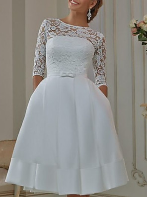 cheap Wedding Dresses-A-Line Off Shoulder Knee Length Tulle Half Sleeve Formal Plus Size / Illusion Sleeve Wedding Dresses with Appliques 2020