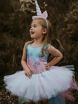 cheap Baby Girls'  Dresses-Baby Girls' Basic Rainbow Sleeveless Dress White