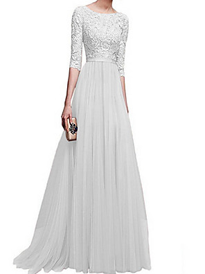 cheap Bridesmaid Dresses-A-Line Jewel Neck Floor Length Polyester Bridesmaid Dress with Appliques / Ruching
