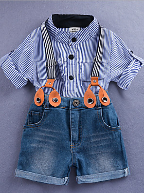 cheap Girls' Dresses-Kids Boys' Basic Solid Colored Long Sleeve Clothing Set Light Blue