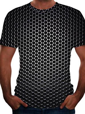 cheap Leggings-Men's Plus Size T-shirt Geometric 3D Graphic Tops Basic Round Neck Black Purple Gold / Short Sleeve