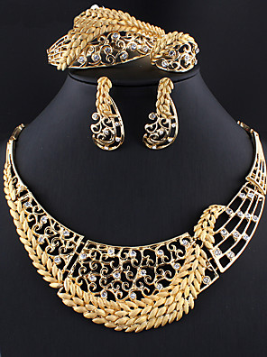 cheap Quartz Watches-Women's Gold Hoop Earrings Necklace Bracelet Hollow Out Leaf Stylish Africa 18K Gold Plated Earrings Jewelry Gold For Wedding Party Engagement Four-piece Suit / Bridal Jewelry Sets / Open Ring