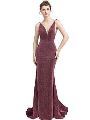 cheap Evening Dresses-Mermaid / Trumpet Elegant Engagement Formal Evening Dress V Neck Sleeveless Sweep / Brush Train Spandex with Sequin 2020
