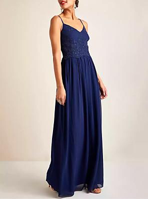 cheap Evening Dresses-A-Line Minimalist Blue Holiday Prom Dress V Neck Sleeveless Floor Length Chiffon Lace with Pleats 2020