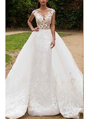 cheap Wedding Dresses-Mermaid / Trumpet Wedding Dresses V Neck Sweep / Brush Train Tulle Regular Straps Formal with Appliques 2020