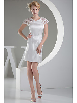 cheap Cocktail Dresses-Sheath / Column Mother of the Bride Dress Plus Size Jewel Neck Short / Mini Taffeta Short Sleeve with Lace 2020