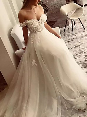 cheap Wedding Dresses-A-Line Off Shoulder Sweep / Brush Train Lace / Tulle Short Sleeve Sexy Plus Size Wedding Dresses with Lace / Appliques 2020