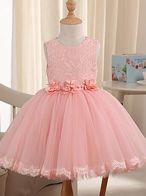povoljno Haljine za male djeveruše-Princeza Do koljena Inscenacija Cvjetne haljine za djevojčice - Poliester Bez rukávů Ovalni izrez s Perlica