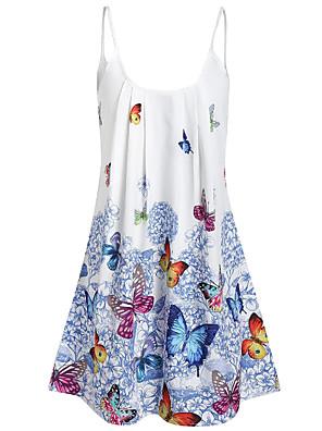 cheap Mini Dresses-Women's Mini Shift Dress - Sleeveless Geometric Spring & Summer Strap Elegant Loose 2020 Blue Red Yellow L XL XXL XXXL XXXXL XXXXXL