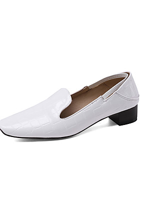 cheap Girls' Dresses-Women's Loafers & Slip-Ons Chunky Heel Square Toe Patent Leather Minimalism Spring &  Fall Black / Almond / White / Party & Evening