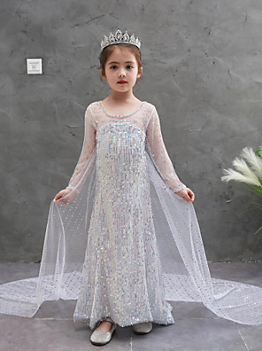 cheap Girls' Dresses-Kids Girls' Active Sweet Solid Colored Sequins Long Sleeve Asymmetrical Dress White